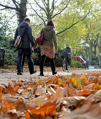 Spaziergang im Herbst - Herbstblätter am Altonaer Platz der Republik.