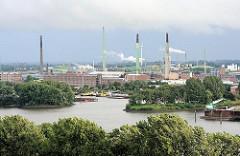 Einfahrt zum Peutehafen und Industrieanlagen in Hamburg Veddel; im Vordergrund Bäume vom Elbpark in Hamburg Rothenburgsort.