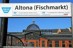 Fähre Anleger Altona Fischmarkt, Kuppel der 1896 eröffneten Fischauktionshalle.