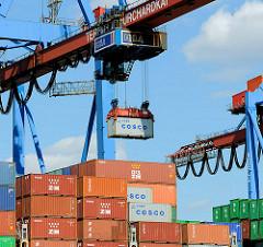 Ein Container wird mit dem Containerkran an Bord des Containerschiffs gebracht - Bilde aus dem Hafen Hamburgs.