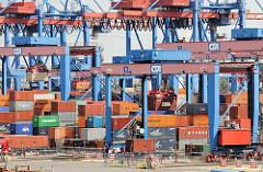 Containerkräne und gelagerte Container auf dem Terminalgelände von Hamburg Altenwerder.