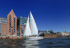 Weisses Segelboot, blauer Himmel - ehem. Speichergebäude + Fischauktionshalle. Bilder aus Hamburg Altona, Altona-Altststadt.