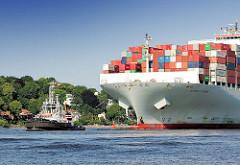 Bug des Containerfrachters  Cosco Pride auf der Elbe vor Hamburg Othmarschen - am Strand sind Menschen vor der Strandperle zu erkennen. Das Frachtschiff Cosco Pride hat eine Länge von 366m und kann 13092 TEU Container laden.