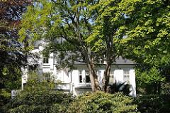 Villa hinter Bäumen und dichten Rhododendronbüschen in Hamburg Osdorf.