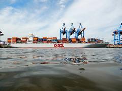 Container Terminal Altenwerder im Hafen Hamburgs - der Frachter OOCL WASHINGTON unter den Containerbrücke am Ballinkai.