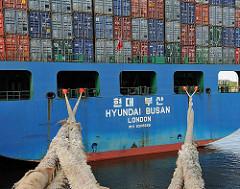 Heck und Trossen Containerschiff HYUNDAI BUSAN