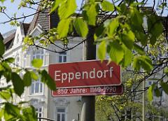 Eppendorf Schild, rot mit weisser Schrift; 850 Jahre 1140 - 1990.