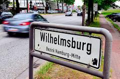 Stadtteilschild Hamburg Wilhelmsburg , Bezirk Hamburg Mitte.