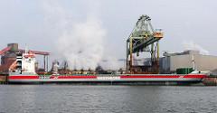 Hamburger Hafen - Frachtschiff im Dradenauhafen - Krananlage am Amsterdamer Kai - Bilder aus Hamburg Waltershof.