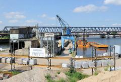Blick auf den Billhafen in Hamburg Rothenburgsort - Baustoffhandlung mit blauem Kaikran; im Hafenbecken ein Bagger auf einem Arbeitsponton der den ausgebaggerten Schlick des Hafens in die Schute verlädt. Im Hintergrund die Eisenbahnbrücken über den O