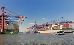 Containerschiff im Waltershofer Hafen - Containerhafen Hamburg