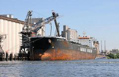 Der Frachter EPTALOFOS am Neuhöfer Pier - die Ladung des Massengutfrachters ist fast gelöscht, das Schiff liegt weit aus dem Wasser.