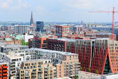 Luftaufnahme der modernen Architektur in der Hamburger Hafencity.