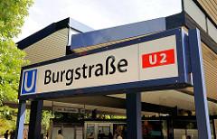 U-Bahnstation Burgstrasse; Haltestelle der Linie U 2 in Hamburg Hamm.