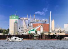 Industrieanlagen am Ufer der Norderelbe in Hamburg Veddel - ein Sportboot fährt auf der Elbe Richtung Hamburger Hafen.