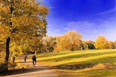 Spaziergang im Herbstwald - Indian Summer in der Hansestadt Hamburg - Herbstbäume im Jenischpark in HH-Othmarschen.