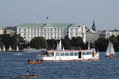 Alsterdampfer und Segelboote auf der Aussenalster - Ufer der Alster vor Hamburg St. Georg - Atlantic Hotel.