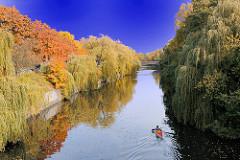 Herbstbäume am Eilbekkanal - Bilder aus Hamburg Barmbek Süd; ein Kanu paddelt entlang des Kanals.