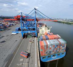 Containerbrücke, Containerschiff, Containerterminal Hamburg Altenwerder - Süderelbe