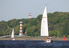 Leuchtturm Wittenbergen, Unterfeuer und Leuchtturm Tinsdal, Oberfeuer - Denkmalschutz in Hamburg Rissen.