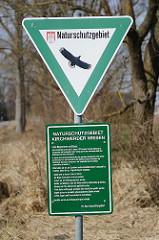 Hinweisschild Naturschutzgebiet in Kirchwerder / Kirchwerder Wiesen.