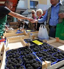 Wochenmärkte in Hamburg - Wochenmarkt in der Rahlstedter Bahnhofsstrasse  - Obststand mit frischen Brombeeren in der Schale.