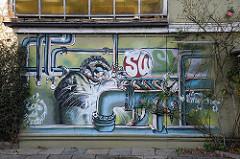 Hamburg Altona Nord Isebekstrasse Graffiti an der Hausmauer