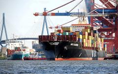 Das 243m lange und 32m breit Containerschiff  MSC Alabama hat vom Hafenkai abgelegt - der Frachter ist hoch beladen; er kann fast 3400 TEU Container an Bord nehmen.