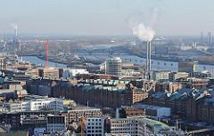 Luftansicht der Hamburger Speicherstadt und der Architektur der modernen Hafencity - Elbe mit Elbbrücken im Hintergrund - Bilder aus den Hamburger Bezirken + Stadtteilen.