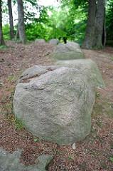 Findlinge auf dem Hügelgrab von Hamburg Langenbek - Grabhügel aus der Bronzezeit.