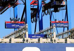 Die Containerladung des Frachtschiffs CMA CGM Christophe Colomb wird gelöscht - das Schiff kann bei einer Länge von 356,50m 13 344 Container transportieren