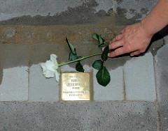 Stolperstein in der Jarrestrasse - neu verlegter Stolperstein für Adolf Biedermann in Hamburg Winterhude; Jg. 1881 - entrechtet / gedemütigt - tot 11.05.1933