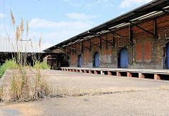 Alte Laderampe mit Gras bewachsen - Lagergebäude; Güterbahnhof im Hamburger Hafen / Oberhafengüterbahnhof.