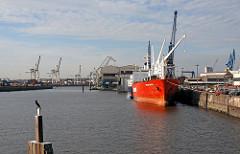 Kormoran auf einer Dalbe - Frachtschiff am Kai im Kuhwerder Hafen, HH-Steinwärder.