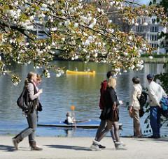 Hamburg Aussenalster Spaziergänger KanufahrerInnen