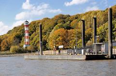 Elbufer in Wittenbergen / Hamburger Stadtteil Rissen; Schiffanleger - Elbhang mit Herbstbäumen, Leuchtturm.