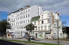 Wohn und Geschäftshäuser in Sankt Pauli - Architektur in der Hansestadt Hamburg.