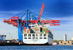 Containerhafen Hansestadt Hamburg - HHLA Container Terminal Tollerort - Containerbrücken + Containerfrachter COSCO PACIFIC