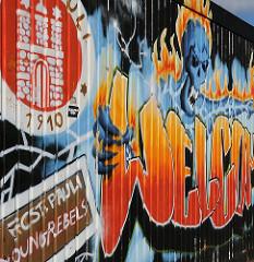 Graffiti für den Hamburger Fussballverein FC St. Pauli, gegründet 1910.