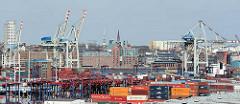 Blick über das HHLA Containerterminal Tollerort auf Hamburg Steinwerder Richtung Norderelbe - am gegenüberliegenden Ufer die Altonaer Fischauktionshalle am Fischmarkt.