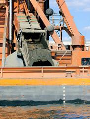 Baggergut auf dem Hafenbagger ODIN im Hamburger Hafen.