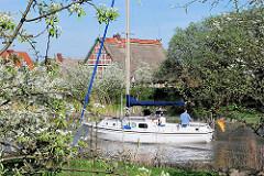 Segelboot auf der Este - blühende Obstbäume am Ufer, Fachwerkhäuser.