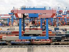 Ein Container wird vom Portalkran auf das Transportchassis des Güterwaggons abgesenkt.