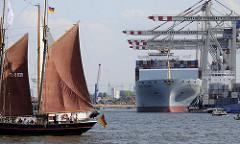 Hafen Hamburg Steinwerder - Containerfrachter unter den Containerbrücken Tollerort - historisches Segelschiff auf der Elbe.