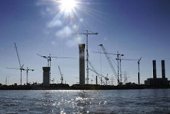 Baustelle Kohlekraftwerk (2008) an der Süderelbe von Hamburg Moorburg.