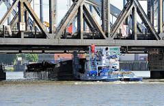 Ein Schubschiff fährt mit einer Schute unter der alten Niederfelder Eisenbahnbrücke hindurch - das Arbeitsschiff passt gerade unter den Eisenträgern hindurch - ein Schiffer beobachtet die Durchfahrtshöhe.