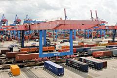 Bahnkran über den Gleisen des Güterbahnhofs Terminal Altenwerder. Beladene Containerzüge stehen auf den Gleisen unter dem Portalkarn.