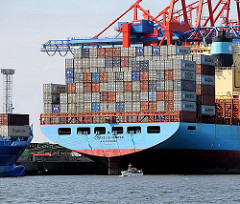 Heck Containerschiff CORNELIA MAERSK Sportboot