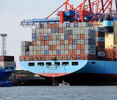 Heck Containerschiff CORNELIA MAERSK Sportboot