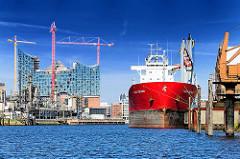 Blick aus dem Steinwerder Hafen über die Norderelbe - Baustelle der Alphilharmonie am Kaiserhöft - Fotos aus dem Hamburger Hafen.